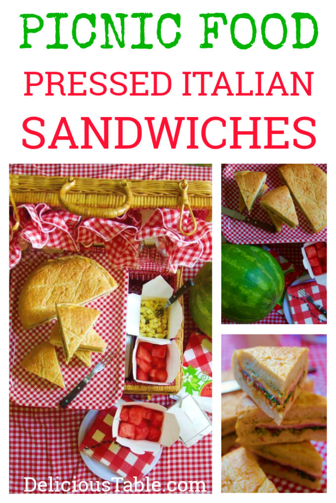 Picnic pressed Italian Sandwiches slices and ready to eat.
