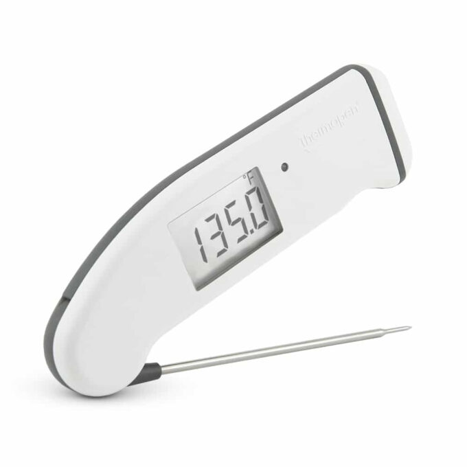 A white ThermoWorks Thermapen cooking thermometer.