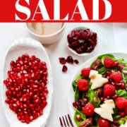 A recipe ad for how to make a festive red and green Christmas salad with trees made from pears and red pomegranate seeds.