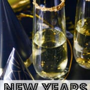 A recipe ad for champagne cocktails at a New Years Eve party.