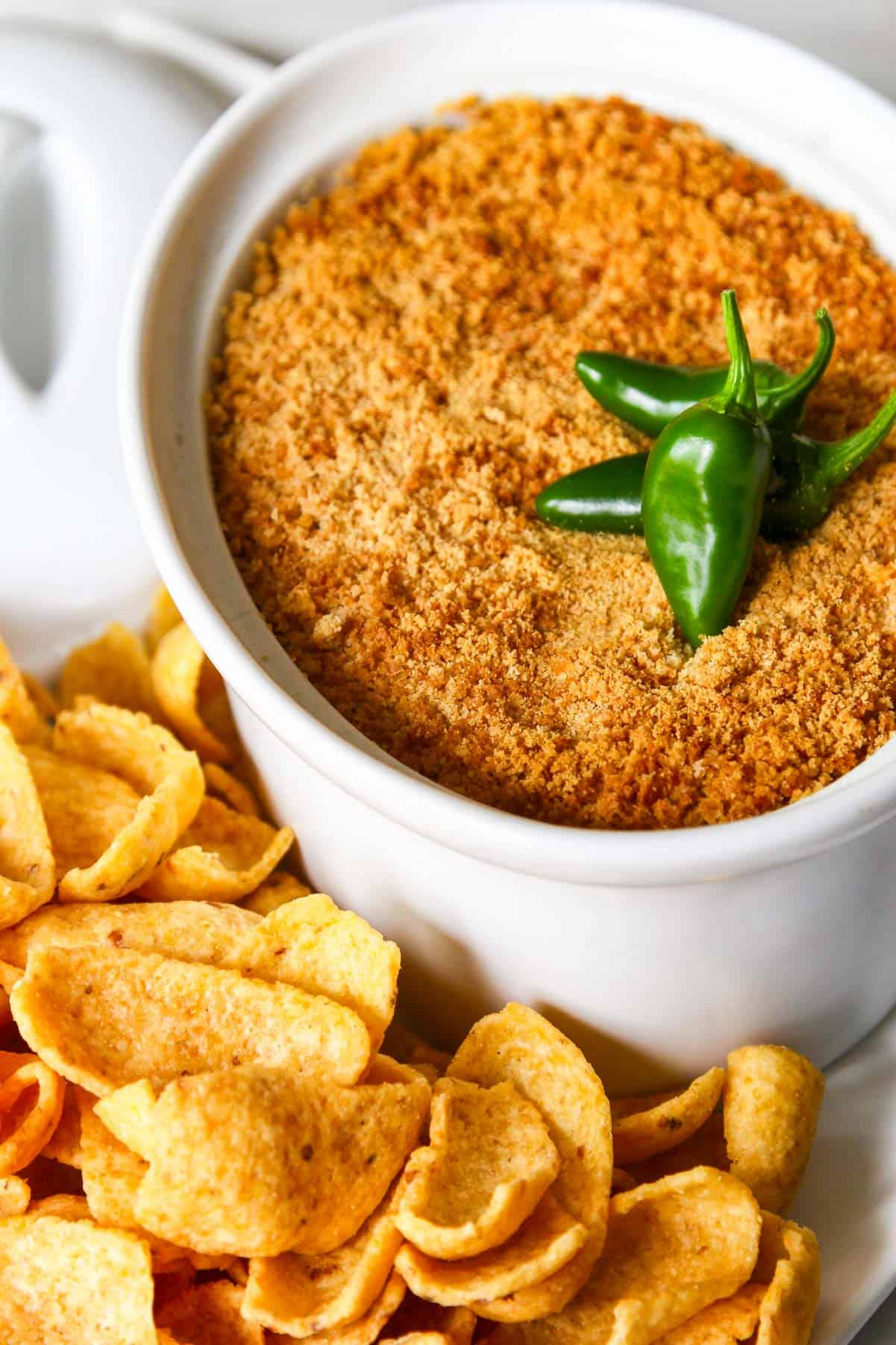 Looking down on golden brown baked hot jalapeno popper dip.