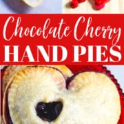 An ad for Cherry Chocolate Hand Pies with teh unbaked and baked pies in a collage.