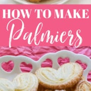 Palmiers cookies in a white heart shaped dish.