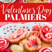 An ad for Valentines Day palmier cookie recipe with heart shaped cookies on a white plate.