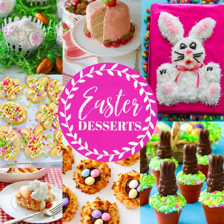 An ad for Easter Dessert recipes showing bright colored bunny cupcakes and Easter bunny cakes and desserts.