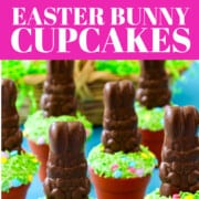 An ad to make a recipe for Chocolate Easter Bunny Cupcakes with green sprinkles.