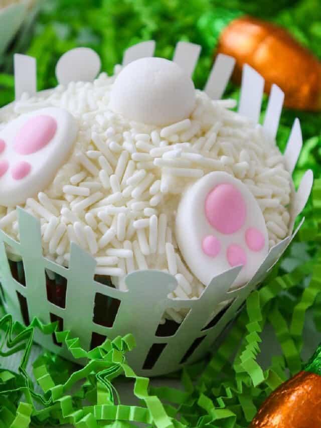Easter dessert idea, bunny cupcakes digging in the garden.