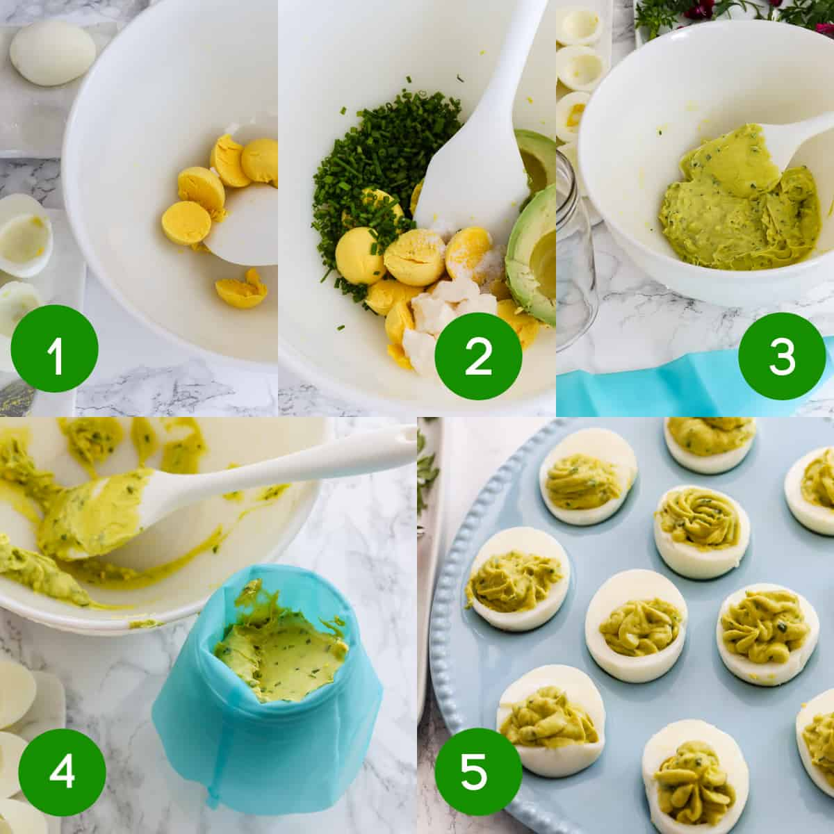 5 Steps to make Easter deviled eggs with garden herbs and edible flowers.
