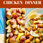 An ad for Sheet Pan Chicken Dinner with photos of the dish just cooked and on a platter.