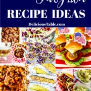A graphic for 100+ July 4th recipes showing a collage of patriotic food including cheeseburgers and side dishes.
