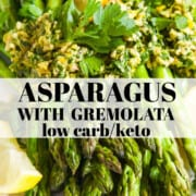 Sauteeed asparagus with a chopped Gremolata topping.