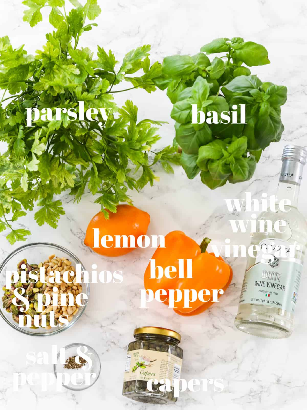 Ingredients labeled to make a gremolata recipe.