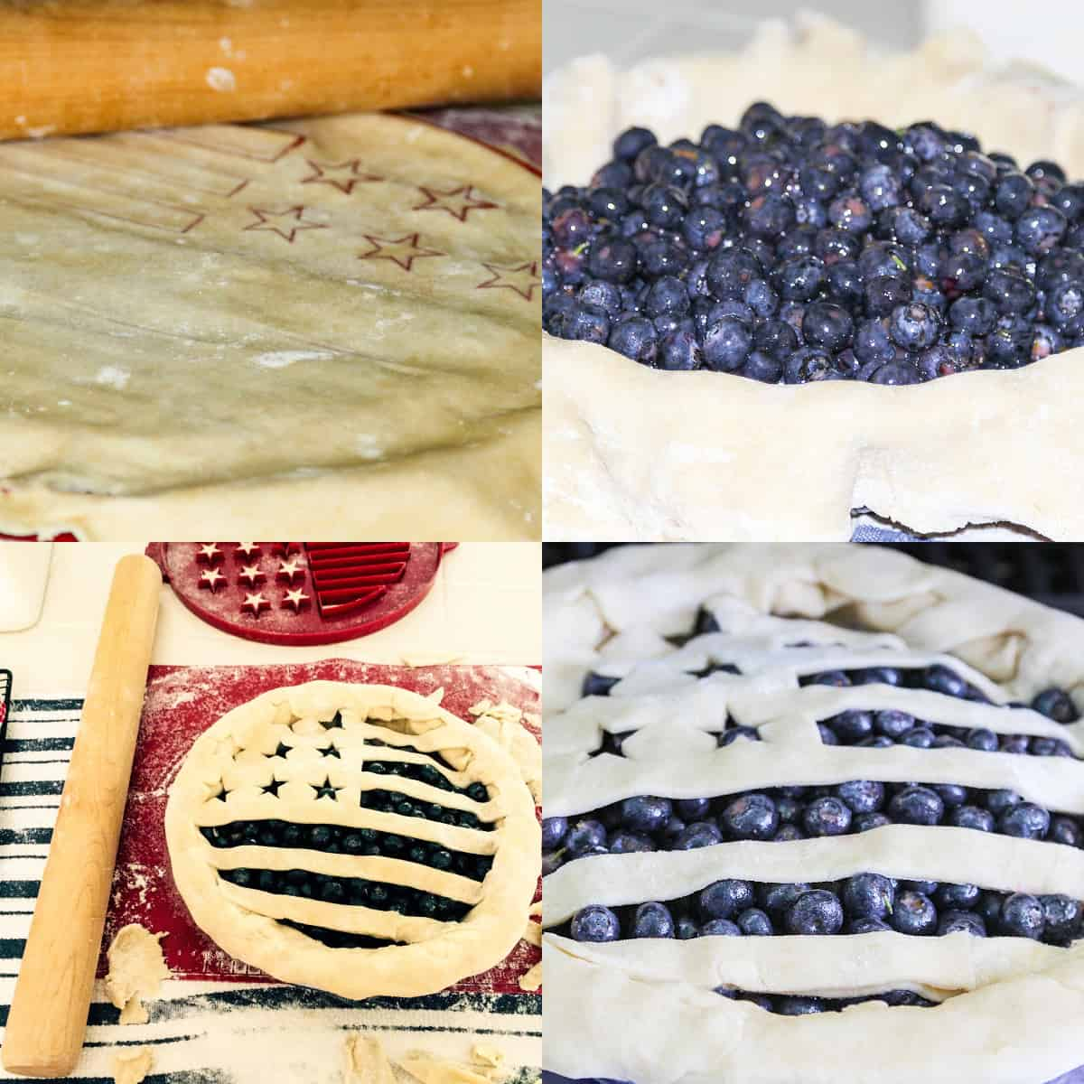 A graphic showing steps 5-8 of baking a blueberry pie with an American flag crust.
