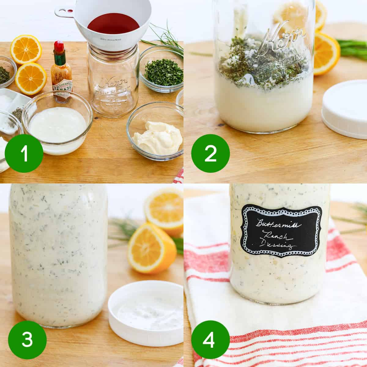 A graphic with four steps numbered to make ranch dressing in a mason jar.