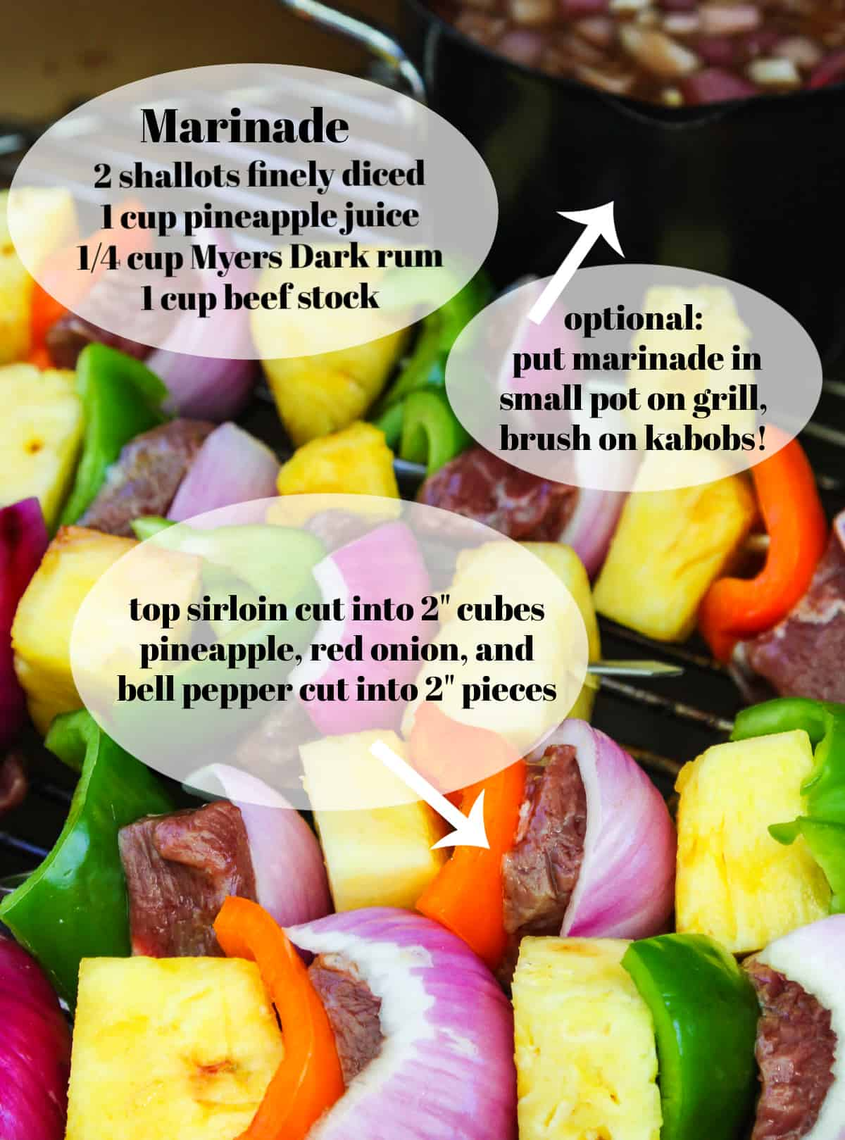 A graphic with shish kabobs on a grill with colorful vegetables.