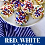 A graphic with patriotic July 4th icing stripes and star sprinkles.