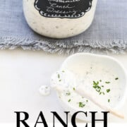 A graphic for Ranch Dressing recipe made in a glass Mason jar.
