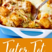 A graphic on how to make Tater Tot Casserole scooping out a piece with a silver spoon.