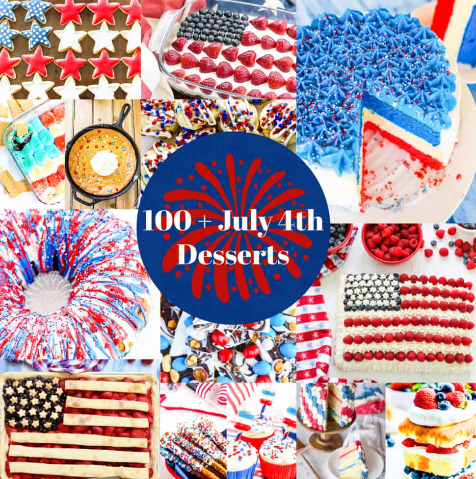 A graphic loaded with July 4th desserts with red white and blue cakes, pies, and treats.