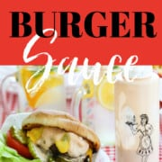 A graphic showing messy grilled burgers and for the recipe to make them.