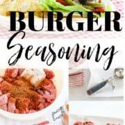 A graphic with a bowl of ground beef and seasonings to make hamburger patties.