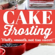A graphic with white vanilla Cake Frosting on a sheet cake and a red bowl of frosting.