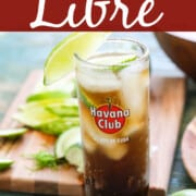 A graphic for Cuba Libre with cocktails in four tall glasses garnished with lime.