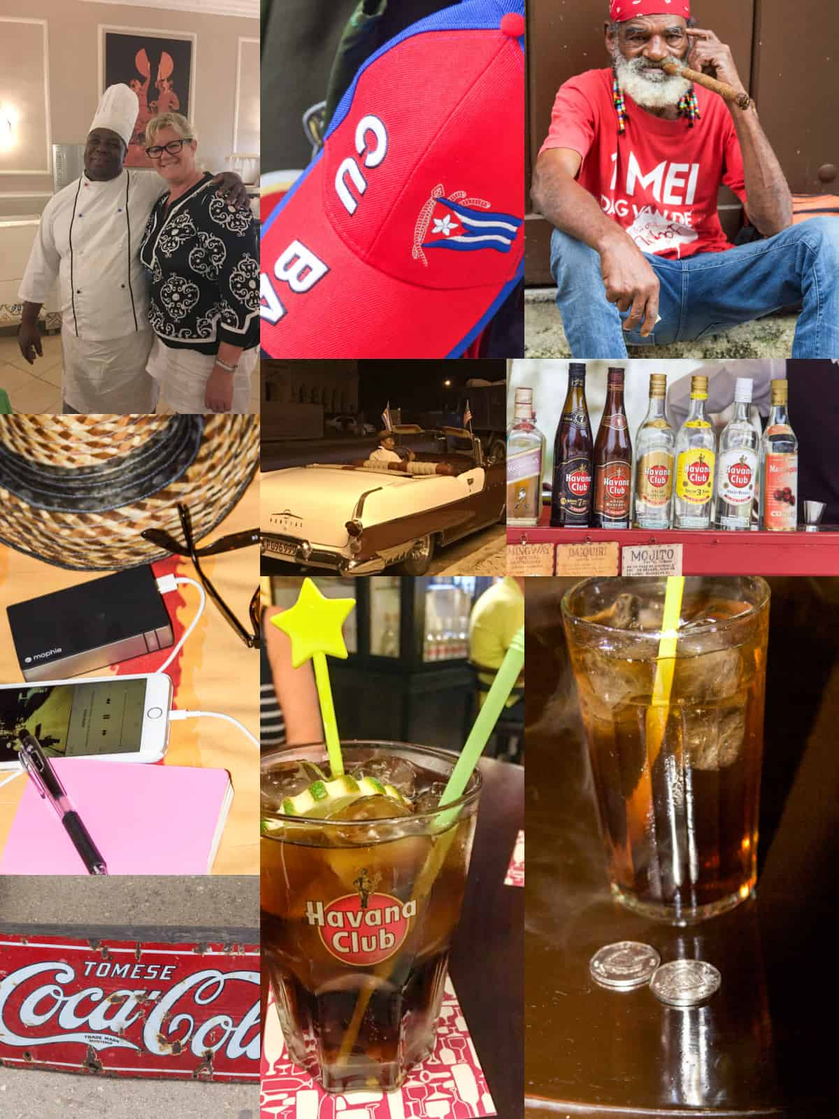 A travel collage of photos from Cuba picturing people, cocktails, and cars in Cuba.