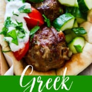 A graphic for Greek Gyros with lamb meatballs on a pita with tomato and cucumber.