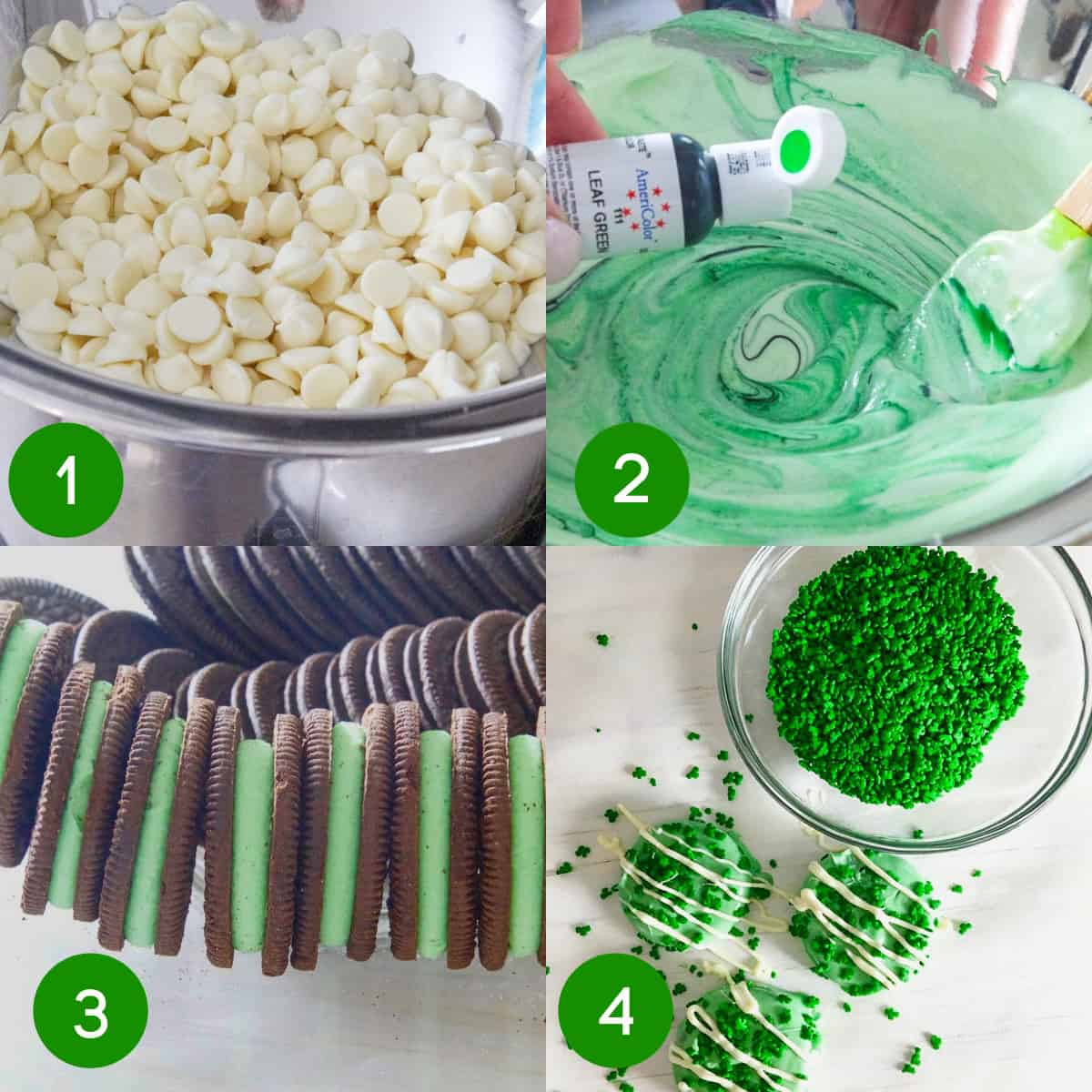 4 step by step images showing how to make green oreos for St Patricks Day.