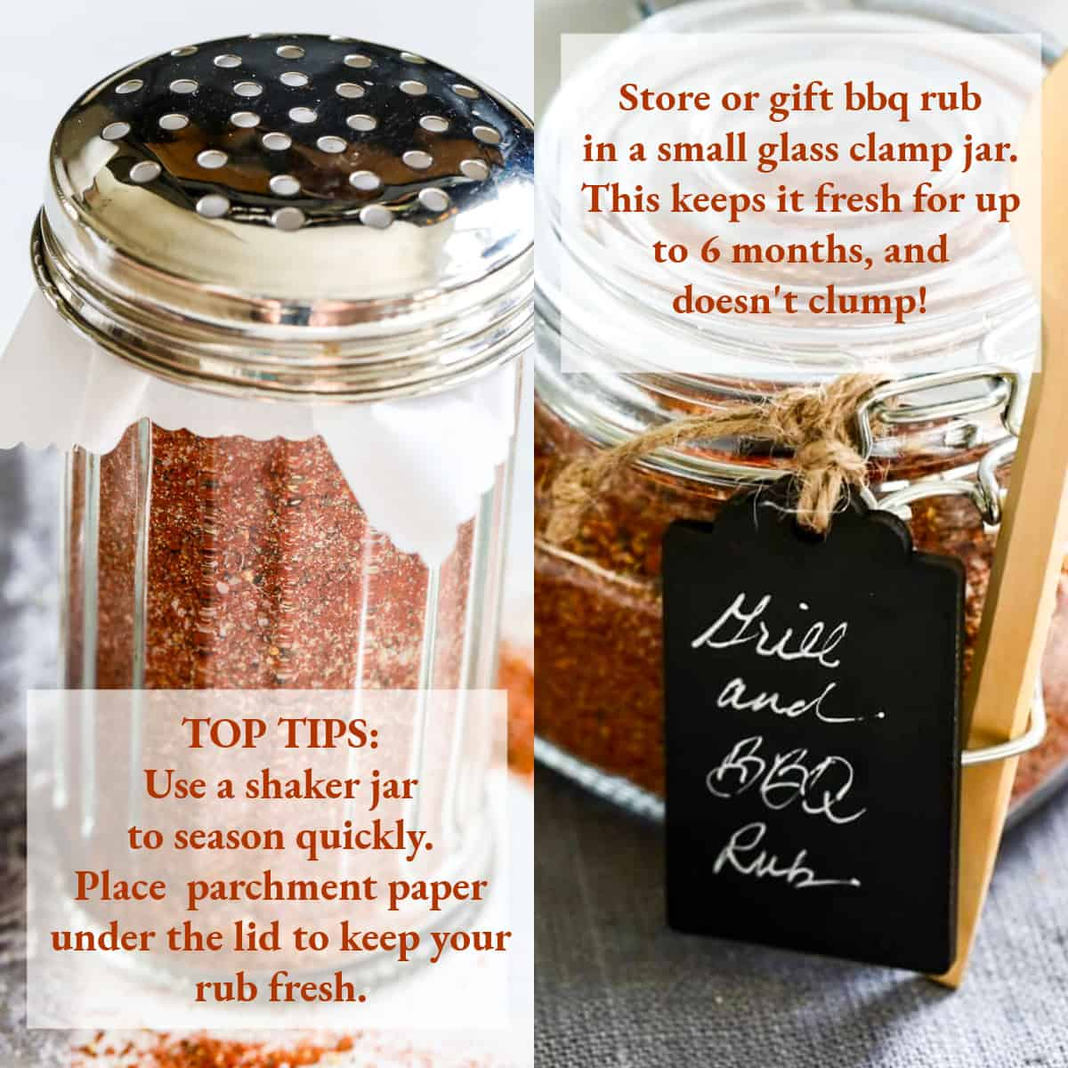 A graphic showing how to put dry rub in a shaker jar or clamp jar to use in cooking.