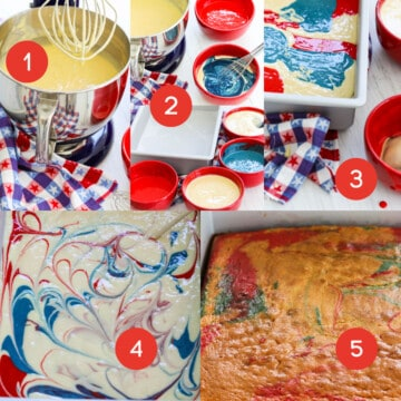 A graphic of 5 steps of how to make a flag cake with batter, and making a marbled cake.