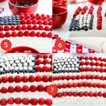 A graphic showing how to decorate a sheet cake into an American Flag Cake using raspberries, blueberries, and fluffy frosting.