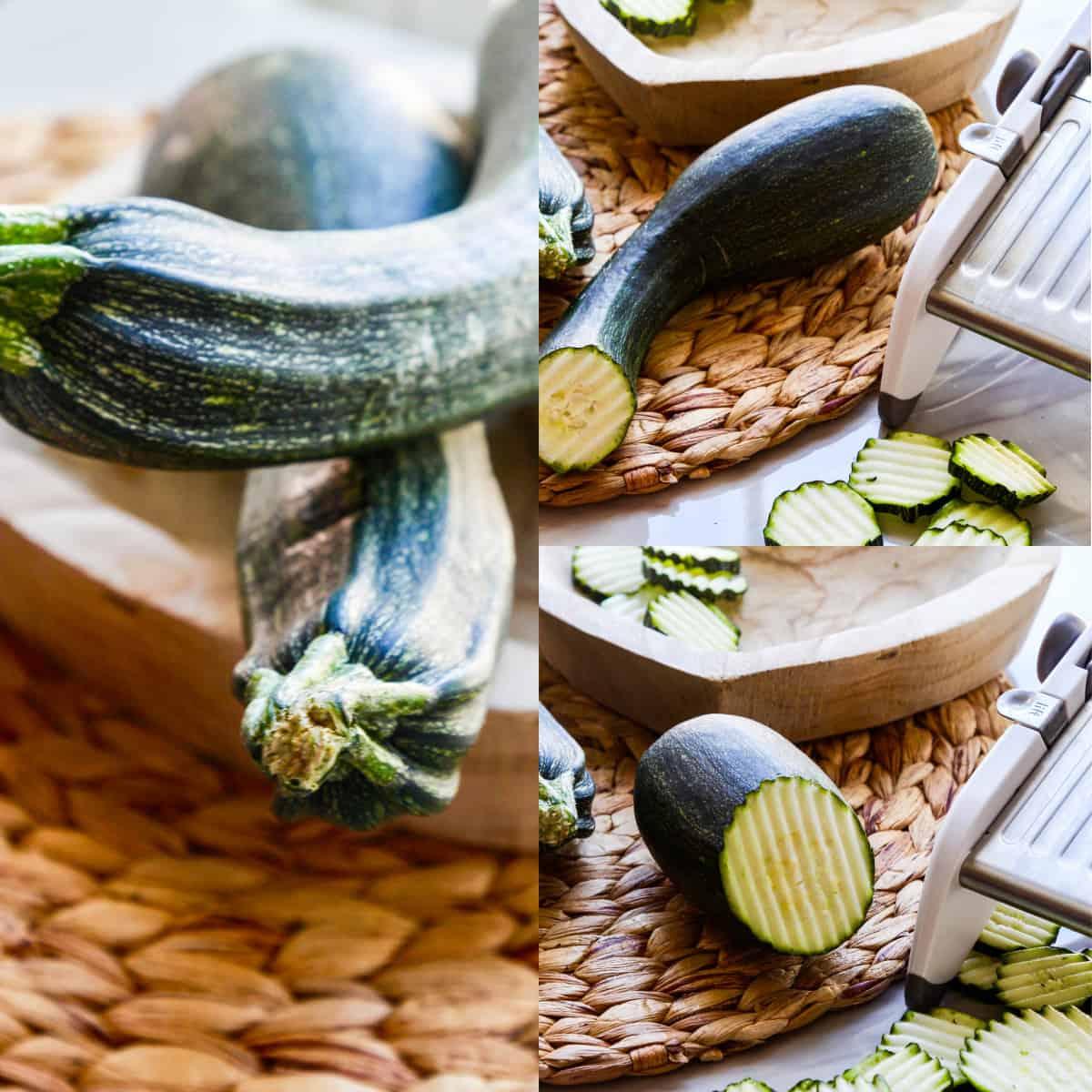 Zucchini in a wood bowl with a mandoline slicing zucchini in a crinkle cut pattern.