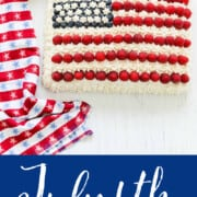 A graphic showing how to decorate a sheet cake into an American Flag Cake using raspberries and blueberries.