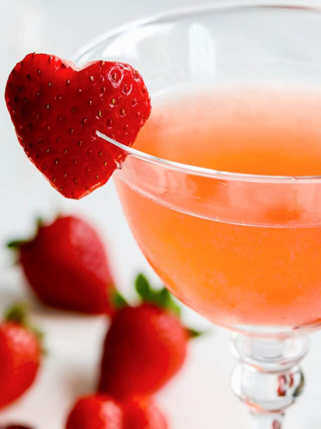 Close up view of strawberry cocktail.