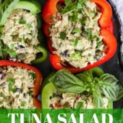 A graphic with bell pepper bowls and wraps filled with Tuna Salad.