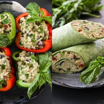 Red and green Bell pepper halves filled and green tortilla wraps filled with Tuna Salad.