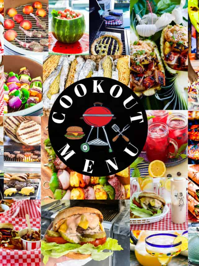 A square collage of colorful grilled food at a cookout with a logo that says Cookout Menu.