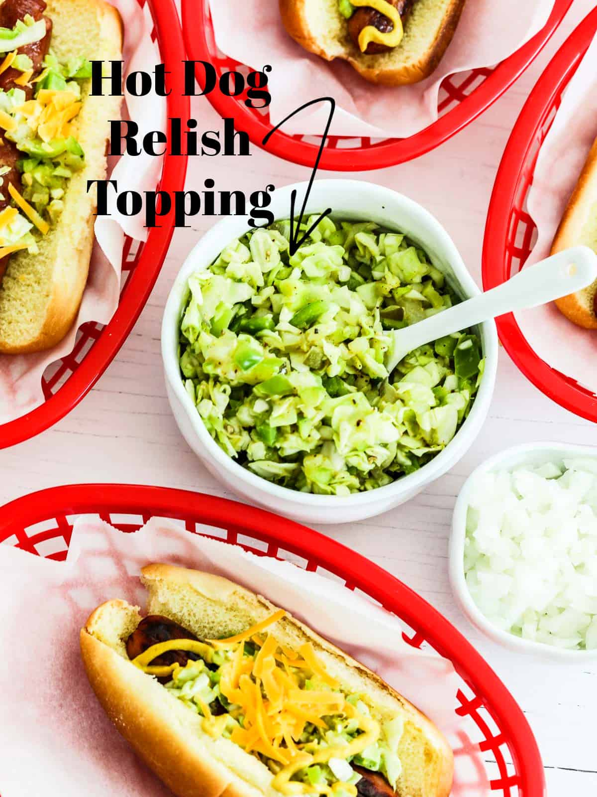 A white bowl filled with hot dog relish topping and red plastic baskets filled with grilled hot dogs.