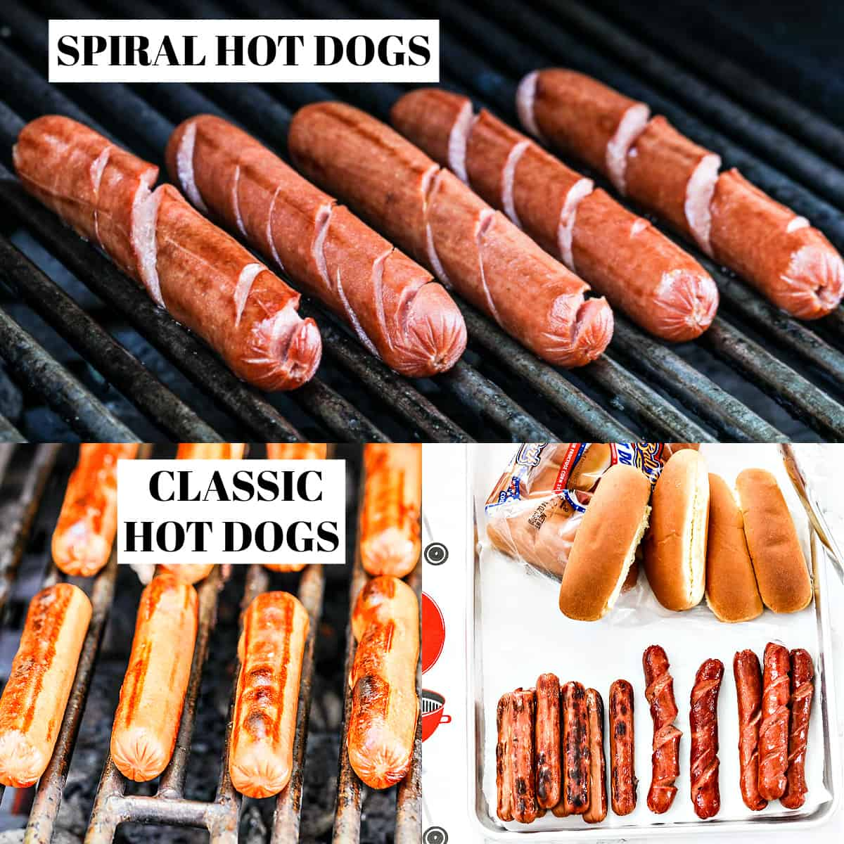 An outdoor grill with spiral cut hot dogs and regular hot dogs grilling and grilled on a tray with hot dog buns.