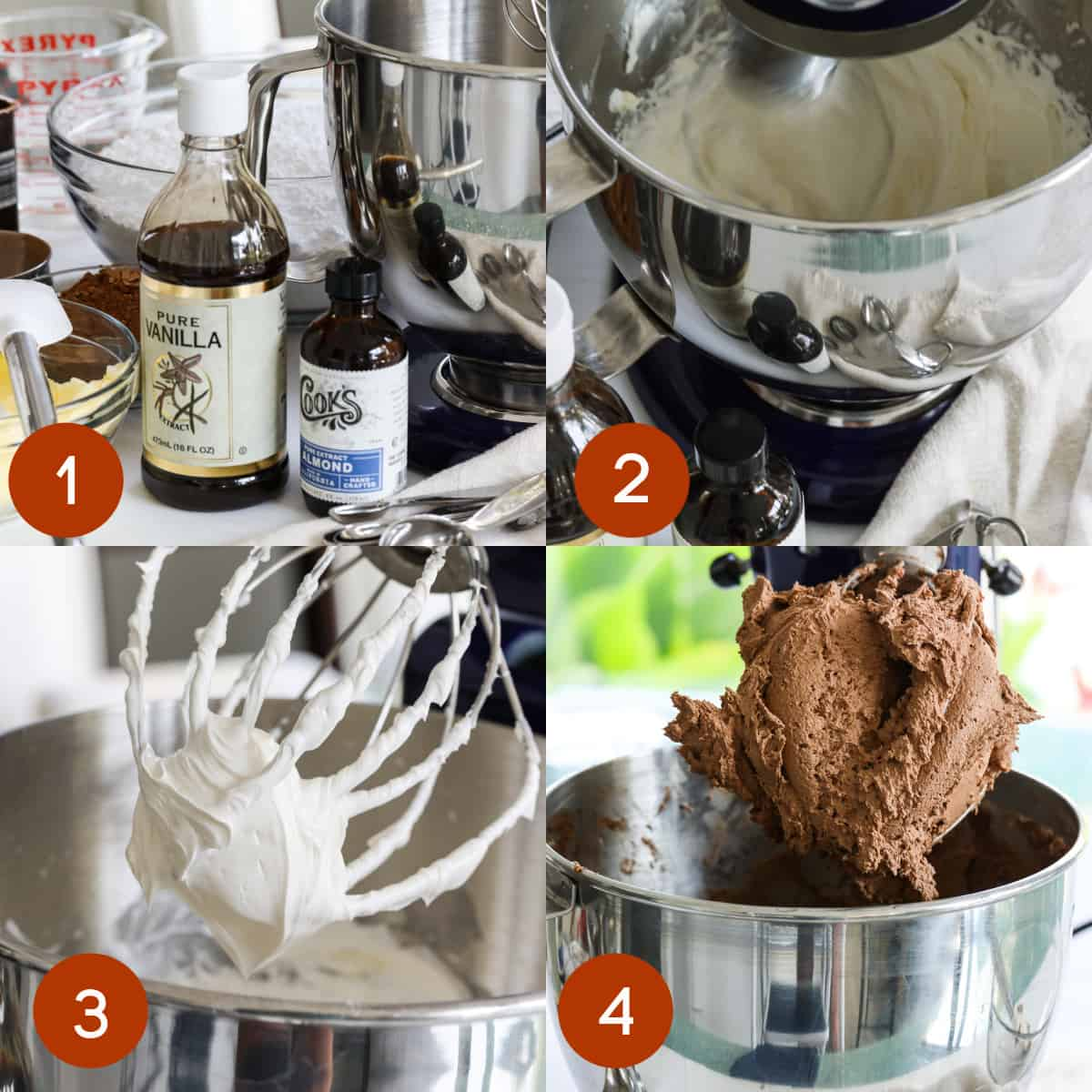 4 steps showing how to make chocolate frosting in a stand mixer from ingredients through to mixing the chocolate buttercream.