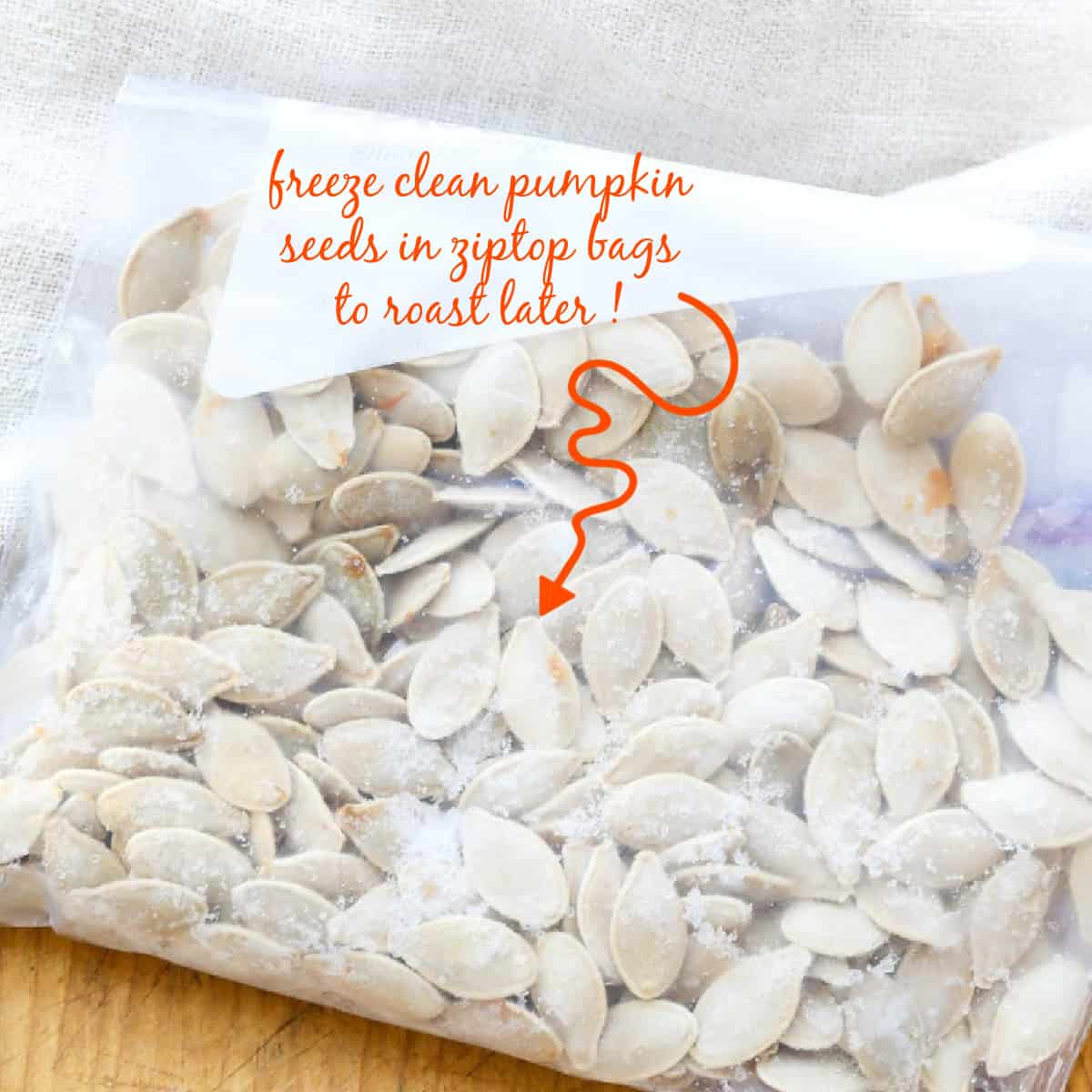 A zip-top bag filled with clean pumpkin seeds to use later in a roast pumpkin seed recipe.