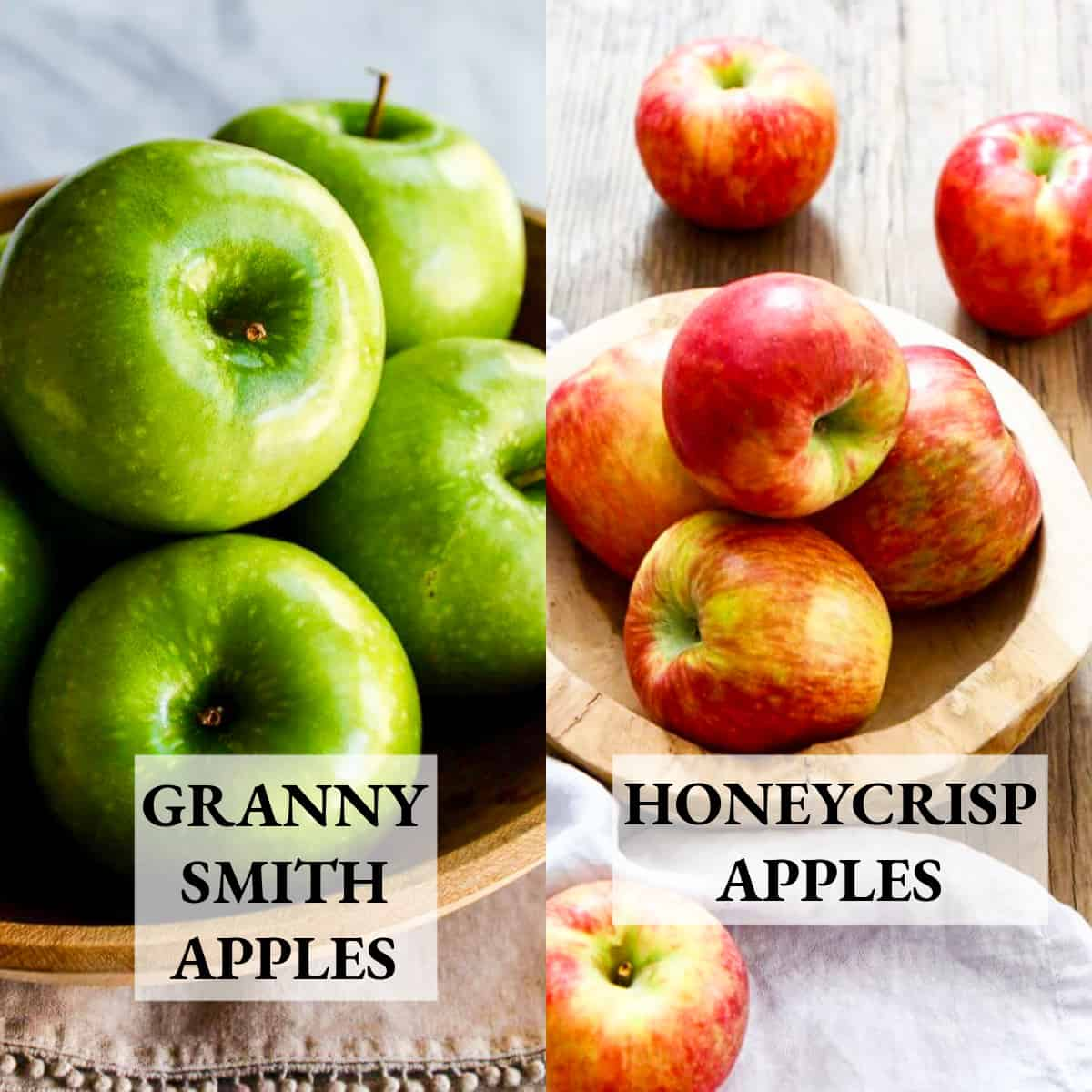 A graphic showing two kinds of apples, Granny Smith and Honeycrisp in wood bowls.