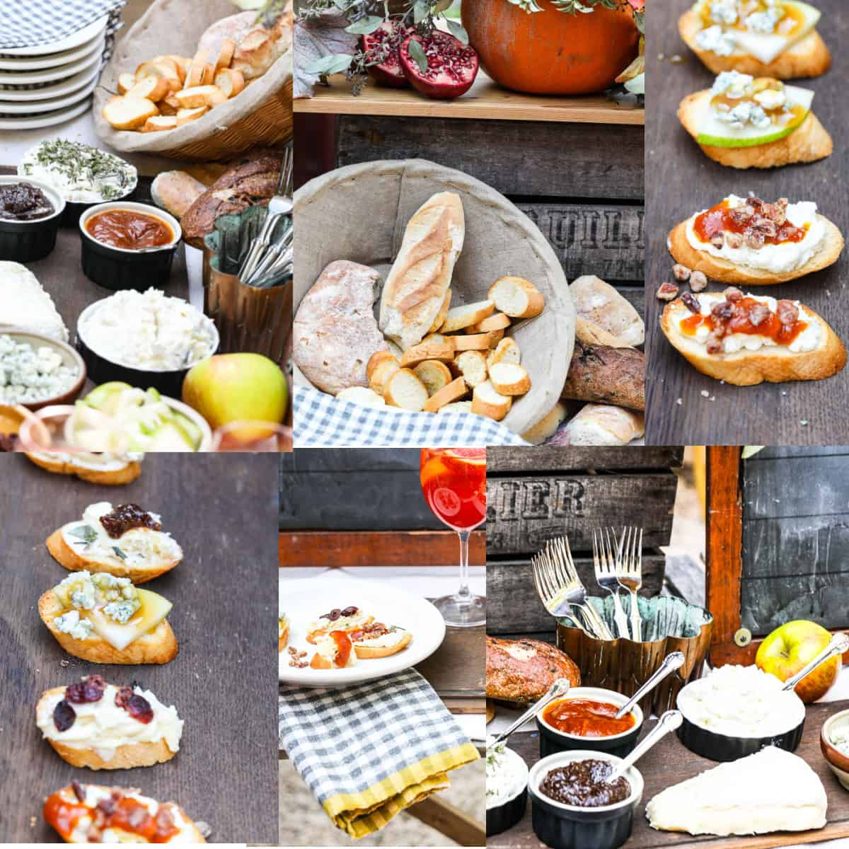 A collage of photos showing a Fall Crostini bar set up with all the toppings, and ideas to set up a party.