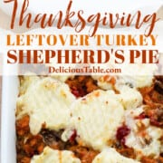 A graphic for Thanksgiving leftover turkey shepherd's pie recipe.