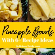 A graphic on how to cut pineapple into chunks for a pineapple bowl also called pineapple boats.