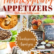 An ad for Thanksgiving appetizers with a collage of recipes including deviled eggs, dips, and cheeseballs, and crostini..